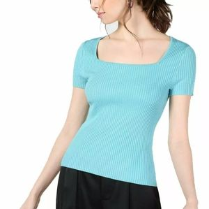 NWT Bar III Square Neck Ribbed Tee
